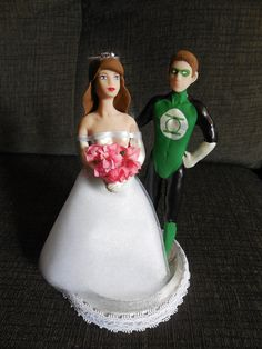 Green Lantern and bride superhero cake by SerendipityBySuzanne, $49.99