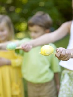 Lawn Games  Outdoor games are key to Easter fun. Try egg-in-a-spoon relay races, croquet, badminton, an egg toss, Simon says, a bean bag toss, or a race to see who can be first to push an egg over a finish line…with his or her nose!