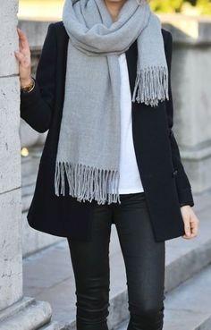 classic grey scarf + black wool coat