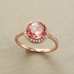 MARQUESA RING -- An amazing coronet of sparkling white sapphires lends royal status to Suzanne Kalan's rose cut pink topaz. Handcrafted in USA of 14kt rose gold. Whole sizes 5 to 9.