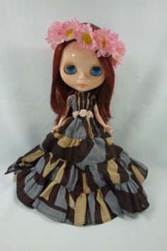 Long Dress and Flowers Hair Band for Blythe Doll D34