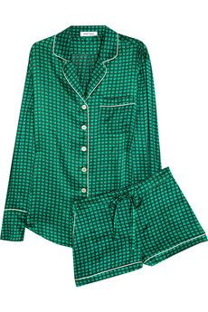 Olivia Von Halle Alba Maria printed silk-satin pajama set