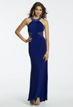 Jersey Beaded Halter Dress from Camille La Vie and Group USA #homecoming #homecomingdresses #prom #promdresses