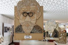 recycled cardboard 3d portraits
