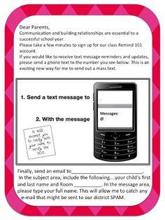 Form for Parents - Remind 101 sign up