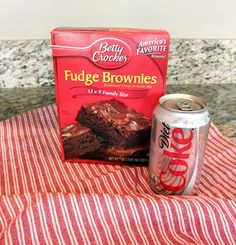 Diet Coke Brownies. No eggs, no oil. Using the low fat mix, and cutting into 24 equal pieces, each brownie is 105 calories, and 0.5 grams fat. What?