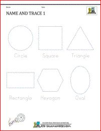 kindergarten geometry worksheets - Name and Trace sheet 1