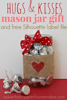 Valentine Mason Jar Gift  over 40 Valentine's Day Ideas! | The Happier Homemaker.   Love this for neighbors and teachers!!