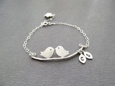 Engagement Gifts Love Birds Bracelet Initials by BlueDoveStudio, $32.50