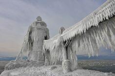 Wicked Ice by Thomas Zakowski via 500px #Photography #Ice #Lighthouse #Michigan