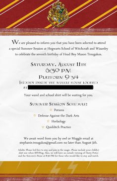 Harry Potter Birthday Party invite