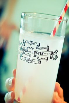 offbeat bride's blog post recommends these customizeable pint glasses that are great quality and highly affordable  -- for a wedding, or this bride put them in their welcome bag emergency kit