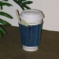 DIY:jeans coffee cup holder