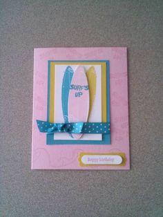 Just Surfing- Feminine Surfs Up birthday card