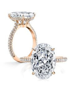 As if an oval stone weren't stunning enough, this one is set on a pavé band and has a layer of secret diamonds in the crown.