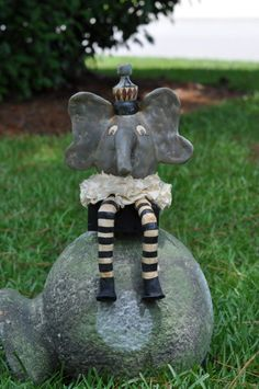Elwood Elephant Paper Clay art Doll by freedomdivine on Etsy, $56.00