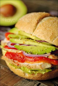 Roasted Red Pepper Chicken Avocado Sandwich