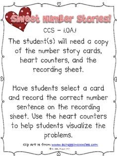 {{Freebie}} Sweet Number Stories.  Math, Holidays/Seasonal, Valentine's Day.  Grade Level(s):  Kindergarten, First, Second   A Valentine's Themed Math Center (Story Problems).  For full version of this activity, check out my We Love Math! math centers activities http://www.teacherspayteachers.com/Product/We-Love-Math-Math-Center-Activities-for-February