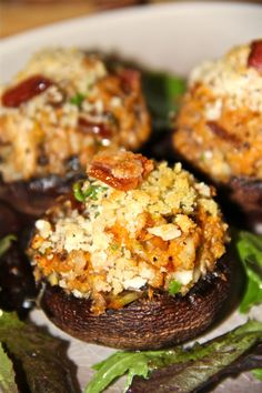 Crab, Artichoke, and Bacon Stuffed Mushrooms with Parmesan and Mozzarella