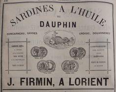 Lorient. Publicité J. Firmin, sardine à l'huile du dauphin. 1882.