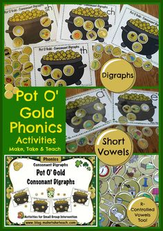 Fun St. Patrick's Day twist for sorting activities!  Short vowels, digraphs and more!