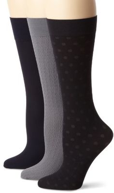 51% Off was $14.00, now is $6.80! Nine West Women's Cable Solid And Dot Trouser 3 Pair Sock