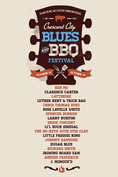 Crescent City Blues and BBQ Festival by Brittany Davis, via Behance