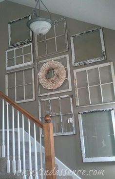Nice/ old windows p Put pictures in a few of the paynes would look great on any wall also cld put drawings in the paynes