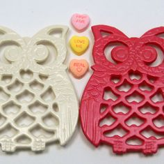 Pink & cream cast iron owl pair, $18 ... Etsy!