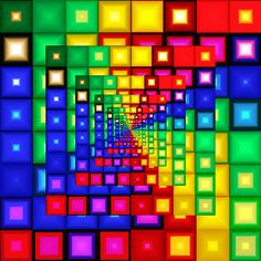 colorful squares, spiral illusion