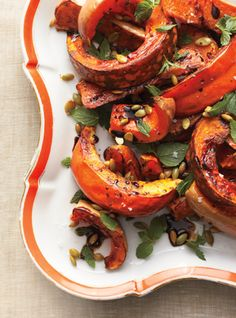 Roasted Squash with Mint and Toasted Pumpkin Seeds #pumpkin #squash #fall #recipe #cooking
