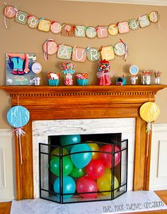 Love the balloons in the fireplace!