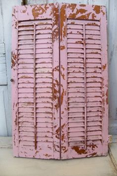 Large pink wood shutters distressed shabby by AnitaSperoDesign, $80.00