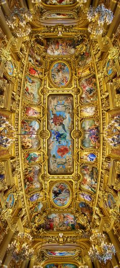 Ceiling - Opéra Garnier, Paris, France. And I thought Tibetan temples were the most colorful places of worship