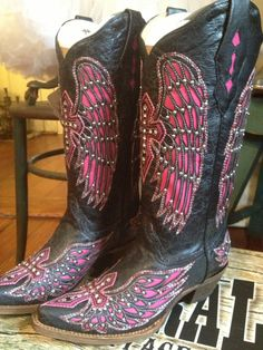 Hot Pink Winged Cowboy Boots with Swarovski by TheDoveCoteBrocante.  $255.00