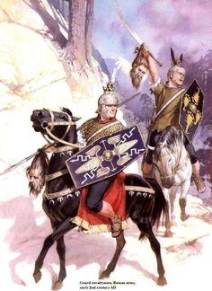 """Cavaliers romains, IIe siècle. Sans doute des gaulois """"romanisés"""". Illustration par Angus Mc Bride."""