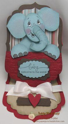 baby elephant punch art tutorial designed by Kim Score