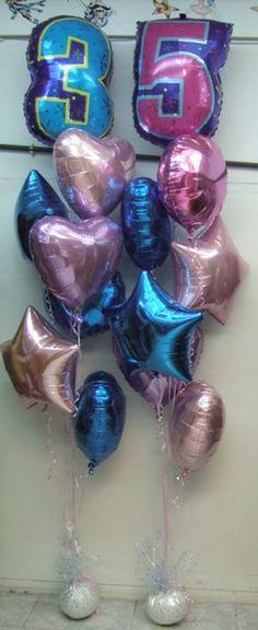 Mazos de globos para un 35 cumpleaños