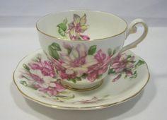 Vintage Royal Standard Ramona Bone China Floral Tea Cup Saucer w Gold Trim