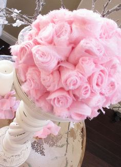 Thinking about trying to make my own cloth flower pomander balls for the wedding... in white tho.
