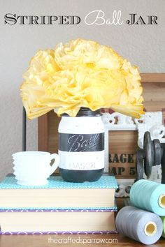 Striped Ball Jar from The Crafted Sparrow... Such a fun and simple way to church up Mason Jars! #masonjars #diy
