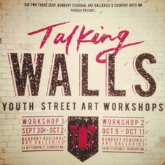 @sixtwothreezero , BRAG & Country Arts WA present two youth street art workshops at Bunbury Regional Art Galleries.