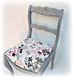 Shabby Gray Distressed Wooden Chair/ Hand painted and Upholstered side chair / Cottage Chic Floral and Grey   Accent Chair. $135.00, via Etsy.  https://www.etsy.com/listing/102493488/shabby-gray-distressed-wooden-chair-hand