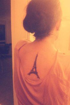 eiffel tower back tattoo