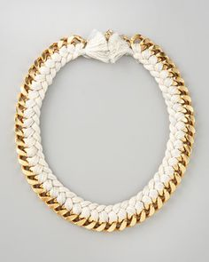 white braided chain necklace