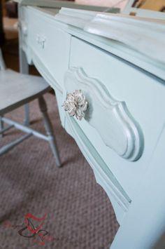 Stenciled Dressing Table Vanity ~ #CuttingEdgeStencils! - - Designed Decor