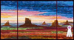 2013 Quilt Expo Quilt Contest, 3rd Place, Category 9, Wall Quilts, Machine Quilted Pictorial: Monument Valley Sunset, Cathy Geier, Waukesha, Wis.