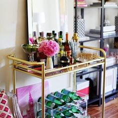 theglitterguide:  Such a glam bar cart!