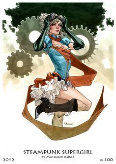 Steampunk Heroines by~MahmudAsrar  Supergirl