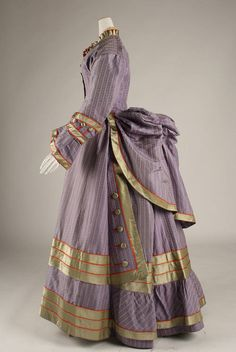 Striped Bustle Dress c.1872-1875